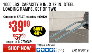 1000 lbs. Capacity 9 in. x 72 in. Steel Loading Ramps, Set of Two