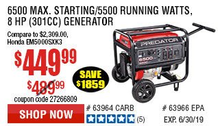 6500 Max Starting/5500 Running Watts, 8 HP  (301cc) Generator CARB  with GFCI Outlet Protection