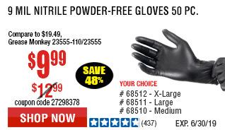 9 mil Nitrile Powder-Free Gloves 50 Pc Medium