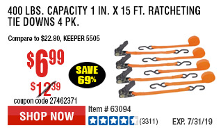 400 lbs. Capacity 1 in. x 15 ft. Ratcheting Tie Downs 4 Pk
