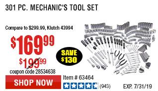 301 Pc Mechanic's Tool Set