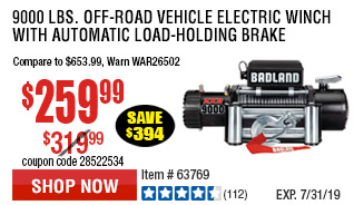 9000 lbs. Off-Road Vehicle Electric Winch with Automatic Load-Holding Brake