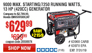 9000 Max Starting/7250 Running Watts, 13 HP  (420cc) Generator EPA III with GFCI Outlet Protection