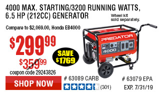 4000 Max Starting/3200 Running Watts, 6.5 HP  (212cc) Generator CARB  with GFCI Outlet Protection