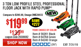 3 ton Low Profile Steel Professional Floor Jack with Rapid Pump® -  Orange