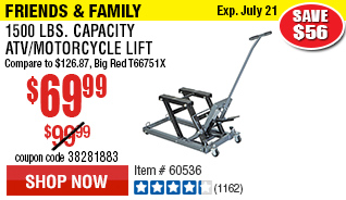 1500 lbs. Capacity ATV/Motorcycle Lift