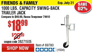 1000 lbs. Capacity Swing-Back Trailer Jack