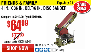 4 in. x 36 in. Belt/6 in. Disc Sander®