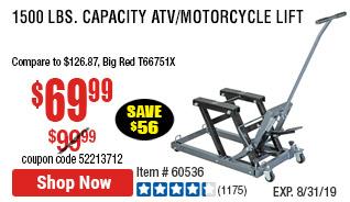 1500 lbs. Capacity ATV/Motorcycle Lift