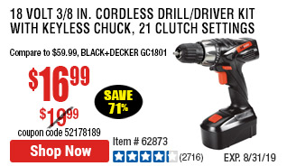 18 Volt 3/8 in. Cordless Drill/Driver Kit With Keyless Chuck, 21 Clutch Settings