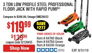 3 ton Low Profile Steel Professional Floor Jack with Rapid Pump® -  Orange