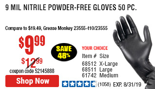 9 mil Nitrile Powder-Free Gloves 50 Pc Large