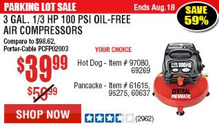 3 gal. 1/3 HP 100 PSI Oil-Free Pancake Air Compressor