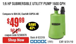 1/6 HP Submersible Utility Pump 1600 GPH