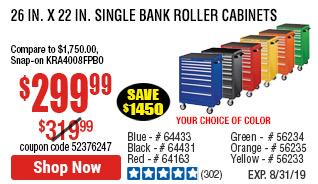26 in. x 22 In. Single Bank Blue Roller Cabinet