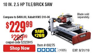 10 in. 2.5 HP Tile/Brick Saw
