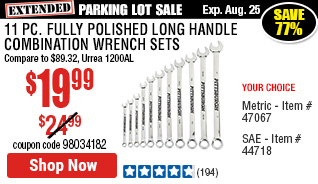 11 Pc Fully Polished SAE Long Handle Combination Wrench Set