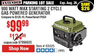 900 Max Starting Watt Max Starting 2 Cycle Gas Powered Generator