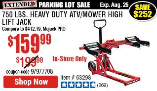 750 lbs. Heavy Duty ATV/Mower High Lift Jack