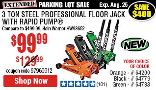 3 ton Steel Professional Floor Jack with Rapid Pump® -  Orange