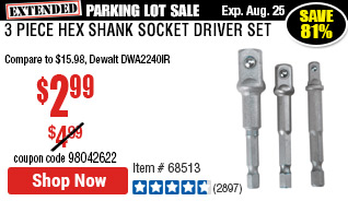 3 Piece Hex Shank Socket Driver Set