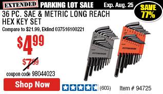 36 Pc SAE & Metric Long Reach Hex Key Set