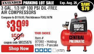 3 gal. 1/3 HP 100 PSI Oil-Free Air Compressor