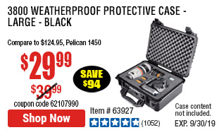 3800 Weatherproof Protective Case - Large - Black