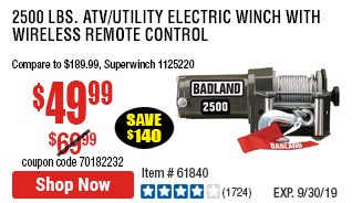 2500 lbs. ATV/Utility Electric Winch with Wireless Remote Control