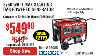 8750 Max Starting Watt Max Starting Gas Powered Generator