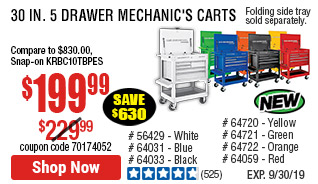 30 in. 5 Drawer Black Mechanic's Cart