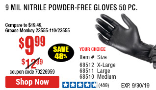 9 mil Nitrile Powder-Free Gloves 50 Pc Medium