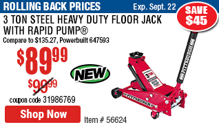 3 Ton Steel Heavy Duty Floor Jack with Rapid Pump®