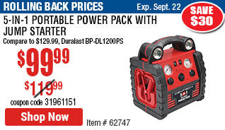 5-in-1 Portable Power Pack with Jump Starter