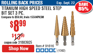 Titanium High Speed Steel Step Bit Set 3 Pc
