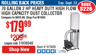 70 gallon 2 HP Heavy Duty High Flow High Capacity Dust Collector