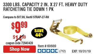 3300 lbs. Capacity 2 in. x 27 ft. Heavy Duty Ratcheting Tie Down 1 Pk