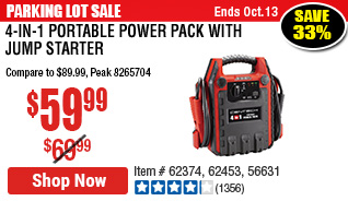 4-in-1 Portable Power Pack with Jump Starter