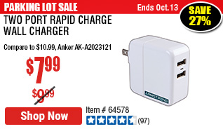 Two Port Rapid Charge Wall Charger