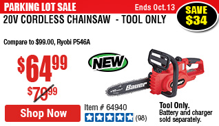 20V Cordless Chainsaw  - Tool Only