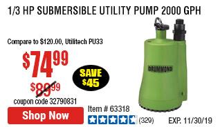 1/3 HP Submersible Utility Pump 2000 GPH
