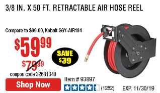3/8 in. x 50 ft. Retractable Air Hose Reel