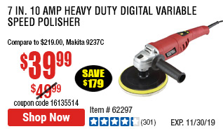 7 in. 10 Amp Heavy Duty Digital Variable Speed Polisher