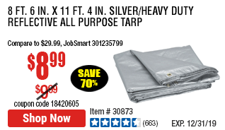 8 ft. 6 in. x 11 ft. 4 in. Silver/Heavy Duty Reflective All Purpose/Weather Resistant Tarp