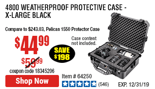 4800 Weatherproof Protective Case - X-Large Black