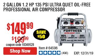 2 gallon 1.2 HP 135 PSI Ultra Quiet Oil-Free Professional Air Compressor