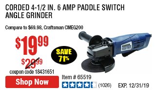 Corded 4-1/2 in. 6 Amp Paddle Switch Angle Grinder