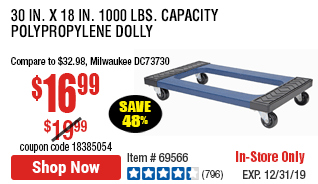 30 in. x 18 in. 1000 lbs. Capacity Polypropylene Dolly