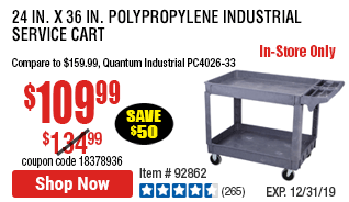 24 In. x 36 In. Polypropylene Industrial Service Cart