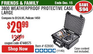 3800 Weatherproof Protective Case - Large - Black